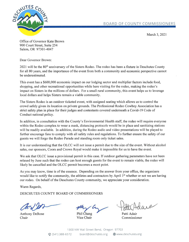 Letter to Governor Brown from Deschutes County Commissioners